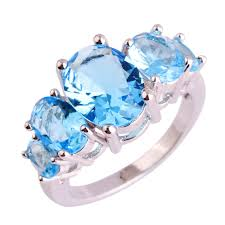blue fashion rings images Lingmei wholesale dazzling blue cz silver color ring size 6 7 8 9 jpg