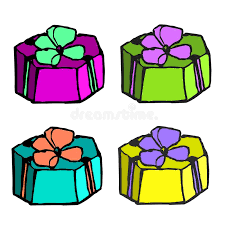 boxes with bows a set of four multi colored gift boxes with bows draw