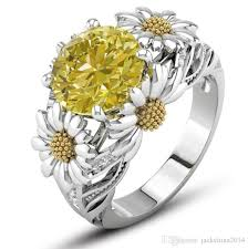 crystal pave rings images 2018 sunflower ring retro fashion jewelry 925 sterling silver jpg