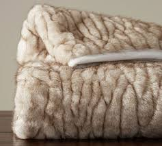 How To Make A Faux Fur Rug Gathered Faux Fur Throw Ivory Tipped Pottery Barn