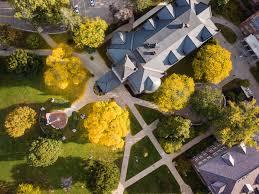 university of new hampshire fall foliage aerial photo over