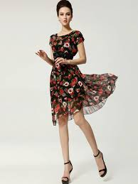 floral knee length dress with sleeves