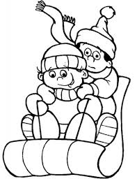 sledding coloring pages cute boy with christmas star and sled