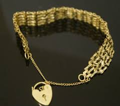 gold chain heart bracelet images 9 carat yellow gold 7 quot chevron 5 bar gate bracelet w safety chain JPG
