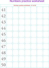 numbers practice worksheets 41 50