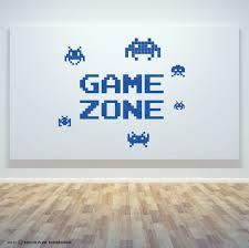 game zone retro gamer room wall art vinyl invaders decal door