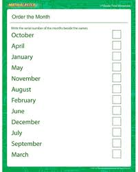 order the month u2013 free time and month printable for beginners