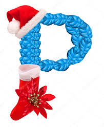 christmas letter p with santa claus cap and stocking u2014 stock