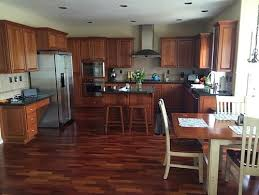 paint color for open kitchen living room with lots of cherrywood
