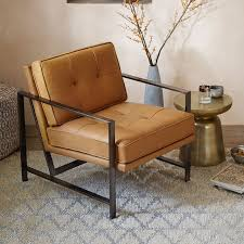 Armchair Frame Metal Frame Tufted Leather Chair West Elm