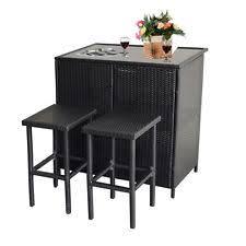 Rattan Bar Table Outdoor Wicker Bar Stools Ebay