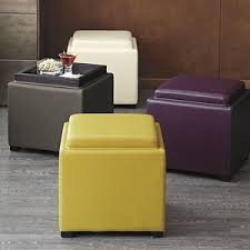 Leather Storage Ottoman Stow Lemongrass 17 5 Leather Storage Ottoman Crate And Barrel