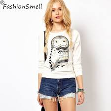 best price on autumn spring casual sweatshirt cute white owl print
