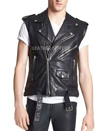 leather biker vest men sleeveless premium leather vest buy online motorcycle