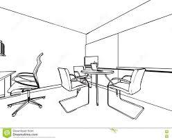 interior showroom offfice outline drawing sketch stock vector