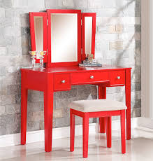 Mirrored Makeup Vanity Table Poundex F4107 Alicia Red Makeup Vanity Table With Mirror U0026 Bench