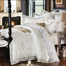 White Silk Bedding Sets Goedkope Wit Jacquard Zijde Katoen Bedclothe Beddengoed Set Luxe 4