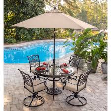 Patio Furniture Dining Sets With Umbrella - traditions 5 piece dining set in tan with 48 in glass top table