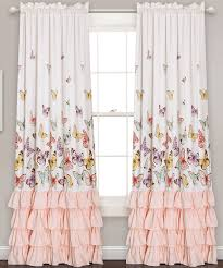 Yellow Ruffle Curtains by Take A Look At This White U0026 Pink Ruffle Accent Butterfly Curtain