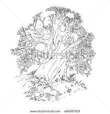 vector coloring book tree 4 stock vector 486987919