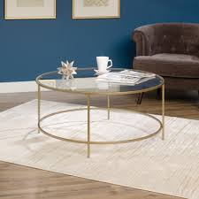 gold glass coffee table international lux round coffee table 417830 sauder