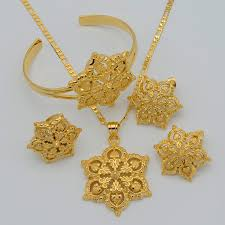 saudi arabia gold earrings gold flowers set jewelry women gold plated pendant necklace