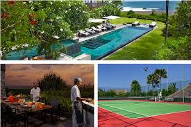practice your backhand at these bali villas with tennis courts