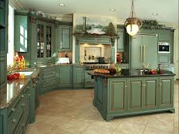 Green French Country Kitchen Cabinets Blue And Green Kitchen - French country kitchen cabinets photos