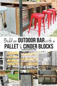 Pallet Furniture Outdoor Bar Diy Cinder Block And Pallet Outdoor Bar
