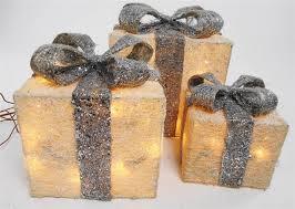 set of 3 led light up glitter present parcel box bow