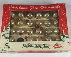 miniature ornaments 1950s gold small mercury glass