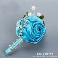 teal corsage 2 pcs high quality handmade wedding corsage for groom and