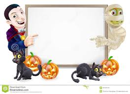 halloween banner clip art halloween sign with mummy and dracula royalty free stock images