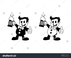 beer cartoon black and white two 50s cartoon characters beer thumbs stock vector 191425790