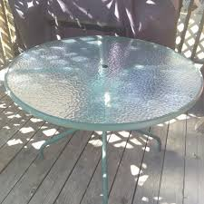 round glass top patio table find more 42 round patio table green metal w glass top has