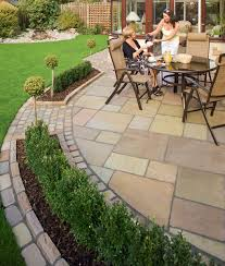 Laying Patio Slabs Fairstone Antique Alverno Garden Paving Marshalls Co Uk