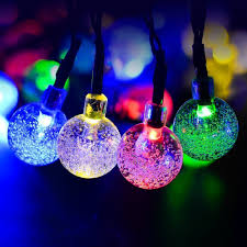 solar powered outdoor string lights 50led string lights fairy lights crystal ball solar powered outdoor