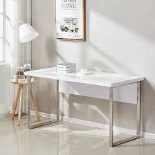 Chrome Office Desk Sydney Office Desk In High Gloss White And Chrome Frame