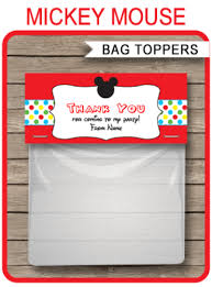 mickey mouse favor bags printable party favor bag toppers archives simonemadeit party