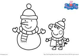 peppa pig christmas snowman colouring printable bub hub