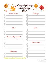 unique thanksgiving shopping list template free template 2018free