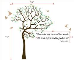 6ft tree brown green with bird wall decal bible