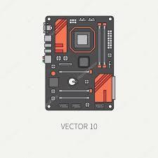 Papier Peint Bureau Ordinateur - ligne plate couleur vecteur partie icône carte mère d ordinateur