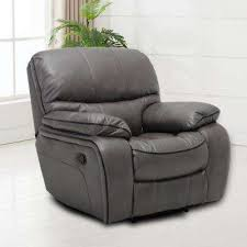 Grey Leather Recliner Leather Recliners Chairs The Home Depot