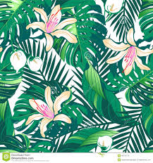 tropical lush flowers seamless pattern on a white background stock