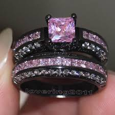 pink and black engagement rings choucong brand design pink 5a zircon 10kt black gold