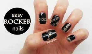easy beginner nail art black punk rock youtube
