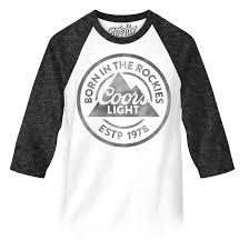 coors light t shirt amazon coors light born in the rockies 3 4 sleeve raglan jersey tee luv