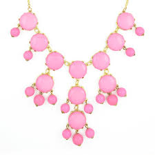 light pink necklace images Pink bubble necklace gold chain bib necklace with dangling beads jpg