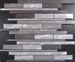 Random Strip Silver Brushed Aluminum Metal Backsplash Mosaic Tile - Aluminum backsplash